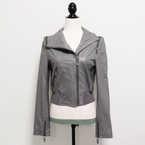 Bebe Gray Faux Leather Motorcycle Jacket Zippers